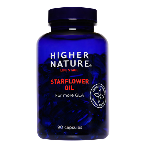 Higher Nature Starflower Oil capsules provide GLA, an omega 6 fatty acid used by women during PMS and through the menopause.
