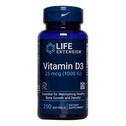 Life Extension Vitamin D3 softgels each provide 1000iu of Vitamin D3 to help address any possible deficiencies within the body.