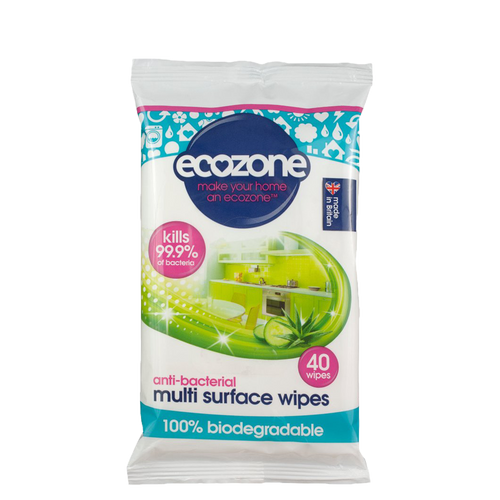 Ecozone Anti-Bacterial Multi Surface Wipes have a fast-dry action formula, guaranteeing your surfaces are left clear, sparkling, sanitised and free from harmful bacteria