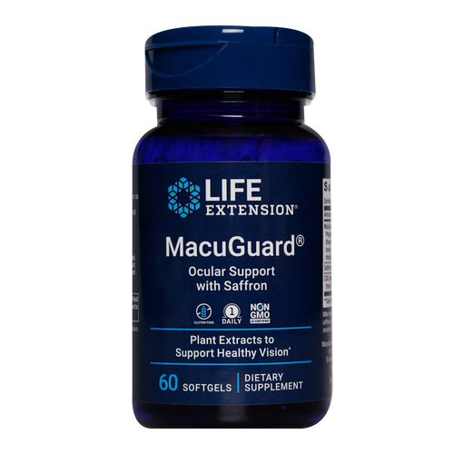 MacuGuard® Ocular Support with Saffron & Astaxanthin provides important nutrients that help protect the eye's delicate photoreceptor cells, promote macular and retinal health, help fight eye fatigue and support healthy night vision.