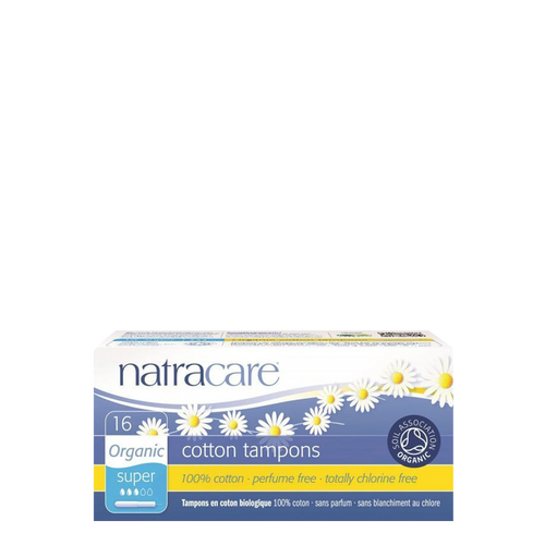 Natracare Organic Super Applicator Tampons are 100% organic cotton tampons with plastic-free applicators for slightly heavier flow.
