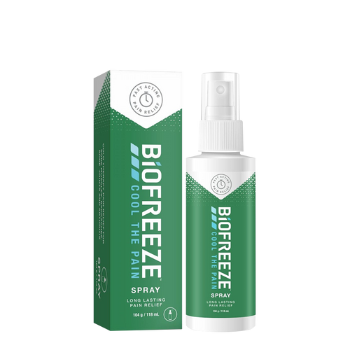 Biofreeze Pain Relieving Spray freezes the area where applied to relieve joint pain, muscle pain and back pain
