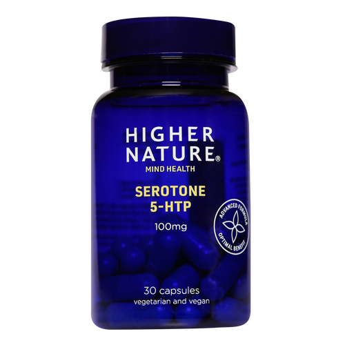 Higher Nature Serotone 5-HTP provides 100mg of 5HTP to help elevate mood
