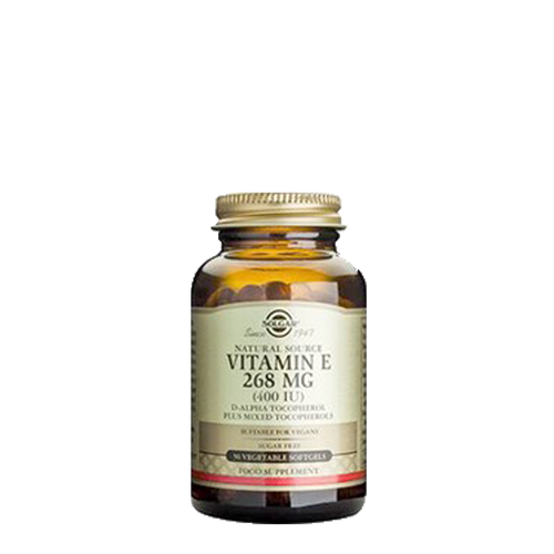 Solgar Vitamin E 400iu (268mg) 50 Vegetarian Softgels provide a natural form of vitamin E, d-alpha tocopherol, to protect cells from oxidative stress and support the immune system.