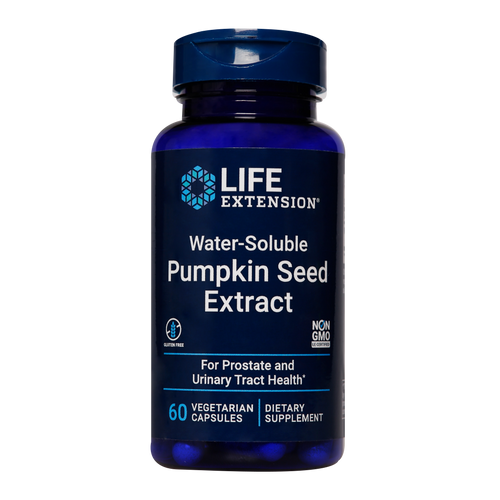 Life Extension Water-Soluble Pumpkin Seed Extract for weak and ageing bladders, supports healthy bladder function.