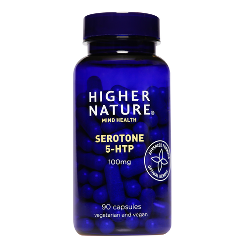 Higher Nature Serotone provides high strength 100mg of 5HTP to calm & relax the body.
