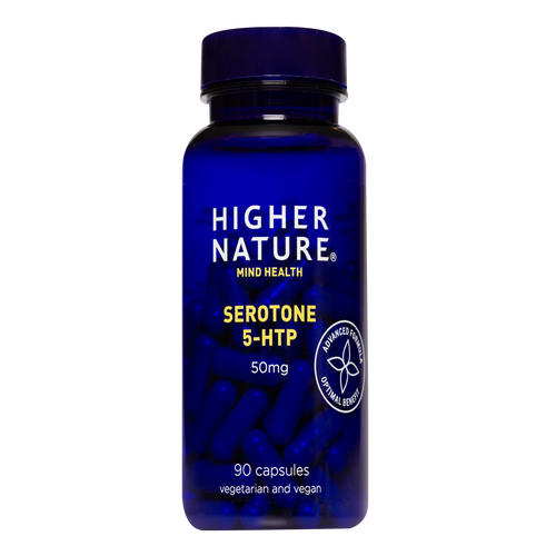 Higher Nature Serotone provides a lower 50mg dose of 5HTP for those seeking a balanced outlook