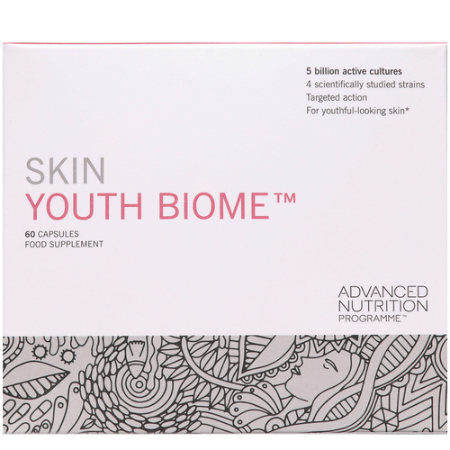 Advanced Nutrition Programme Skin Youth Biome is a beauty supplement which supports normal, healthy gut flora and healthy, youthful looking skin.