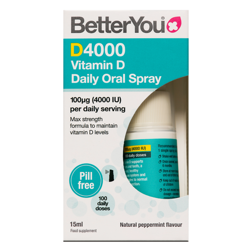 Better You D4000 Vitamin D Oral Spray is a maximum strength vitamin D oral spray to help support the body's normal immune system, aid normal muscle function and maintain healthy bones and teeth.