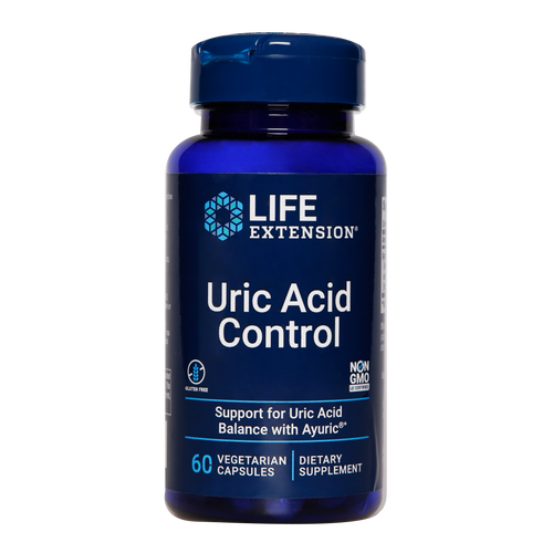 Life Extension Uric Acid Control vegetarian capsules are an effective supplement aiding in joint, kidney and bladder support.