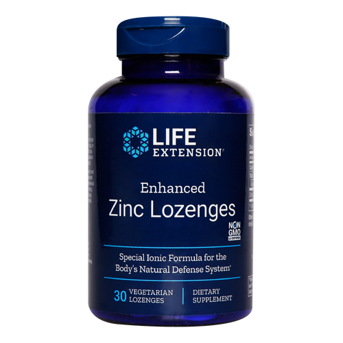 Life Extension Enhanced Zinc Lozenges contain zinc acetate which strongly supports the immune system & reduces duration of colds.
