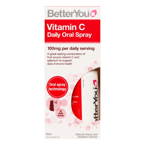 Better You Vitamin C Daily Oral Spray is a convenient, fast and effective oral Vitamin C supplement to help boost your immune system, support daily immune health and reduce tiredness and fatigue.
