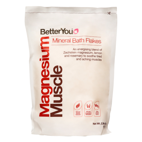 Magnesium Muscle Bath Flakes are theideal antidoteto those days when yourskin is dry, yourbody istiredandyou need to feel restored.