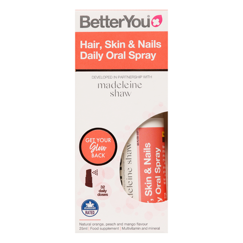 Better You Skin, Hair and Nails Daily Oral Spray in collaboration with Madeleine Shaw is pill-free nutritional support for the maintenance of healthy skin, hair and nails.