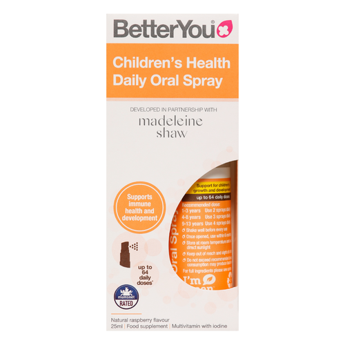 Better You Children's Health Daily Oral Spray in collaboration with Madeleine Shaw is pill-free nutritional support for children's growth and development.