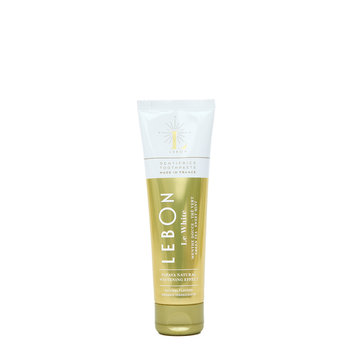 LEBON Le White Whitening Toothpaste with Sweet Moroccan Mint and Green Tea has a whitening effect from the Papaya Extracts.