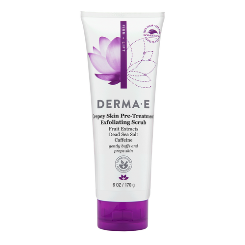 Derma E Crepey Skin Pre-Treatment Exfoliating Scrub is a skin-softening pre-treatment that exfoliates and smooths to diminish the look of crepey skin.