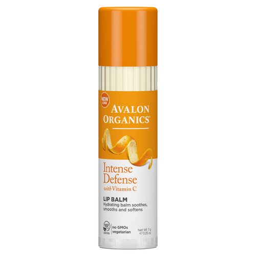 Avalon Organics Intense Defense Lip Balm with Vitamin C is a 100% natural and organic nourishing lip balm containing Vitamin C and Vitamin E to smooth and moisturise dry lips and protect against chapping.
