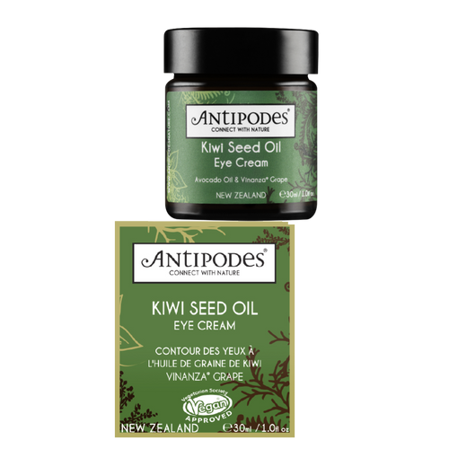 Antipodes Kiwi Seed Oil Eye Cream is a natural eye cream that helps toprotect against signs of ageing and reduce the appearance of fine lines and wrinkles.