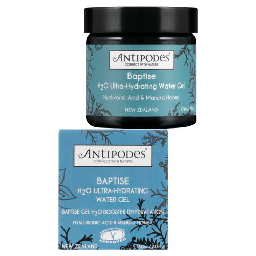 Antipodes Baptise H20 Ultra-Hydrating Water Gel is a powerful, weightless moisturising gel that delivers intensive hydration without the heaviness and oiliness often associated with rich moisturising creams.