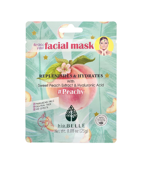 Biobelle Botanical Fibre Peachy Facial Mask rich formula leaves skin looking youthfully dewy and hydrated.
