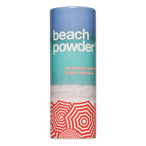 Beach Powder is a talc-free, eco-friendly powder which removes wet and dry sand from the skin. Say goodbye to sandy skin with Beach Powder.  Make sand disappear.