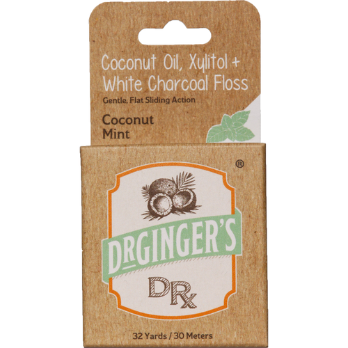 Dr Ginger's Coconut Oil, Xylitol + White Charcoal Floss is a flat smooth dental floss to clean those in-between hard to reach spaces
