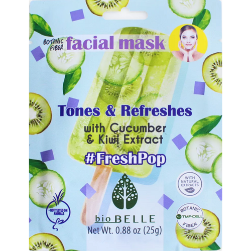 Fresh Pop Facial Mask improve your skin's suppleness and elasticity by using as main ingredients cucumber and kiwi extract.