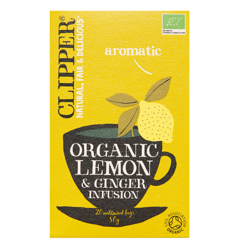 Clipper Organic Lemon & Ginger tea is a refreshing, delicious and zesty citrus infusion with the warming zing of ginger