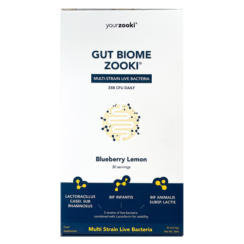 YourZooki Gut Biome Zooki is a probiotic supplement containing three specifically picked strains of live bacteria for your gut health