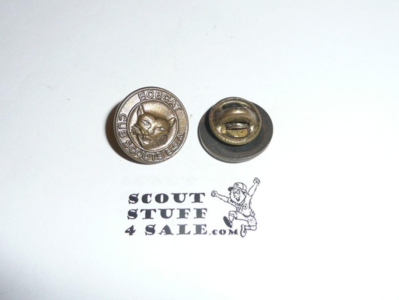"Bobcat Round ""BOBCAT"" Cub Scout Rank Pin, Post back"