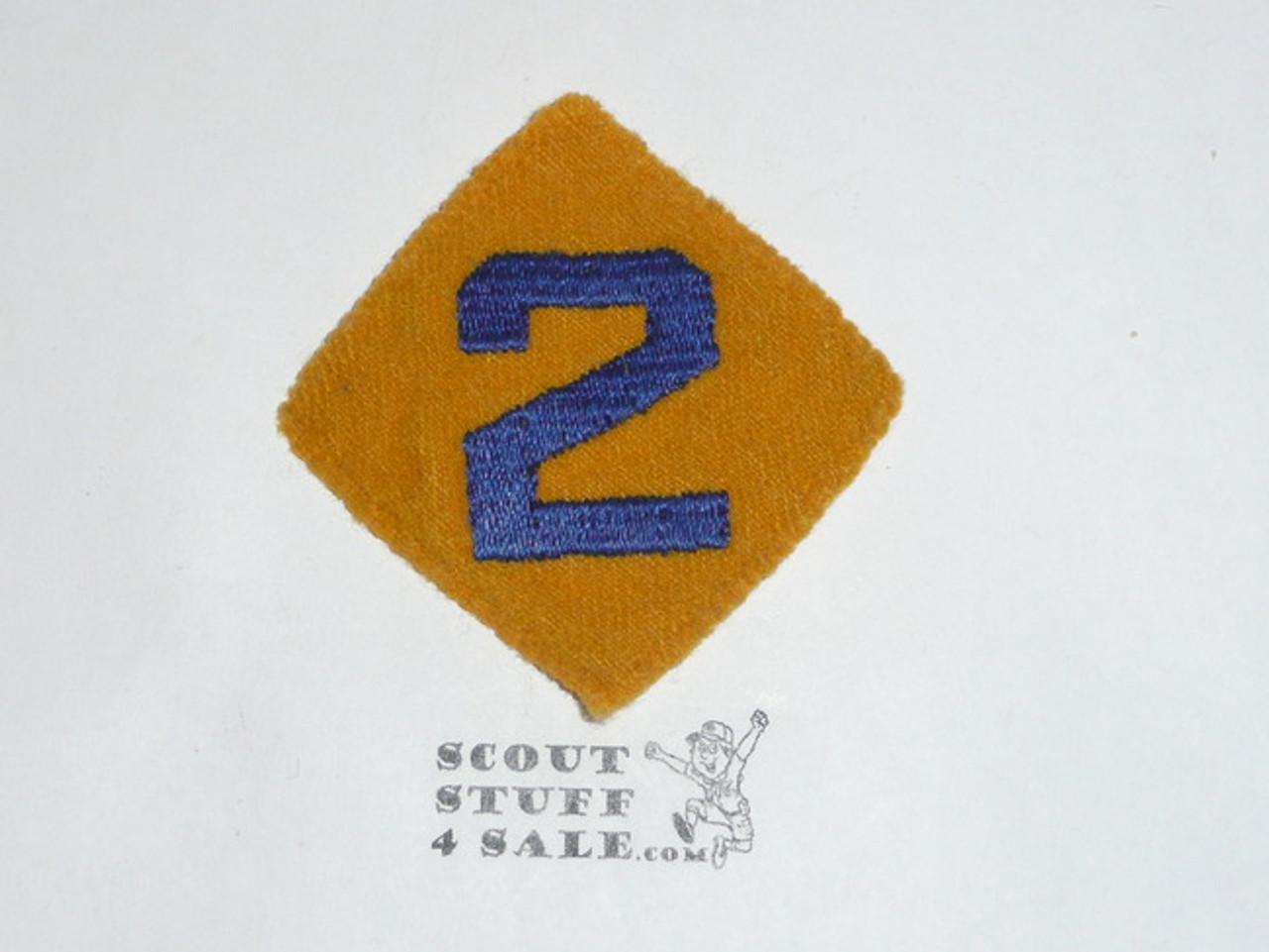"""Old Felt Cub Scout Felt Diamond Unit Number """"2"""" Patch, lt use"""
