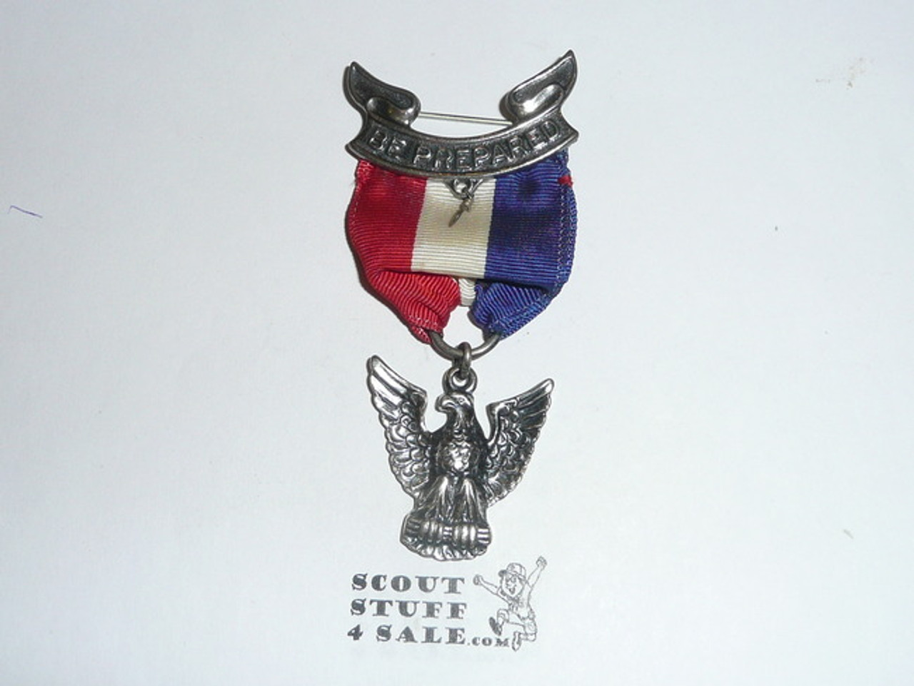 Eagle Scout Medal, Robbins 4, 1955-1969, Flat Back Style, STERLING SILVER, Mint Unused Condition, may have lite tarnish on the back of pendant which is normal
