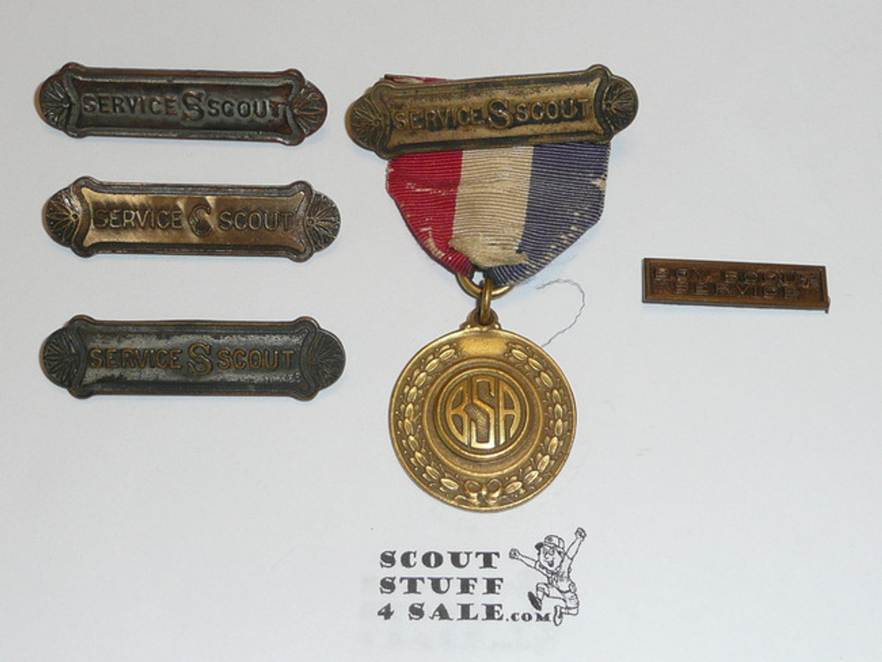 Collection of Los Angeles Area Council Civic Service Scout Medals, Gold, Silver, and Bronze Bars, Medal Plus
