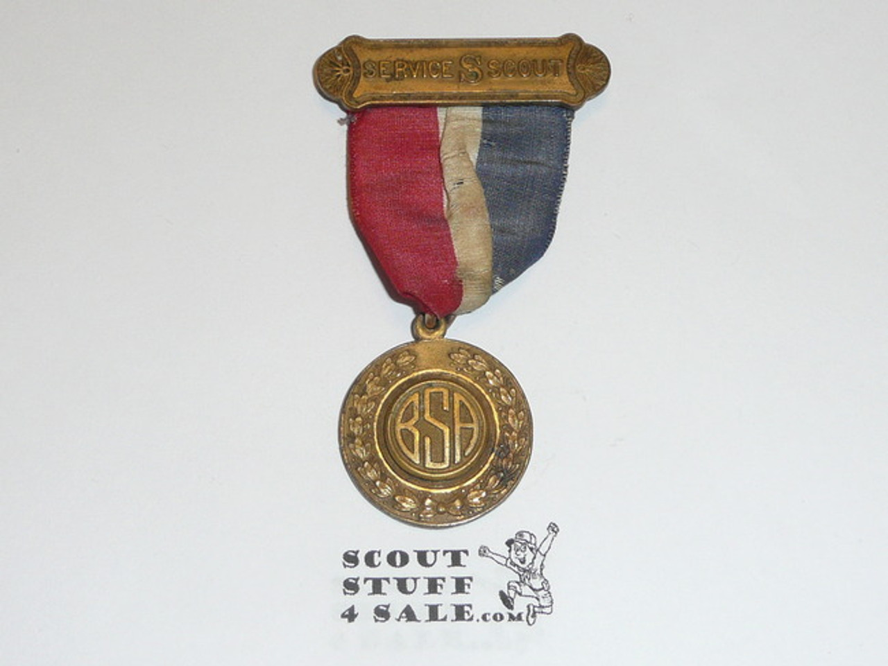 1920's Los Angeles Area Council Civic Service Scout Medal, Very Rare, Some Fraying to Ribbon