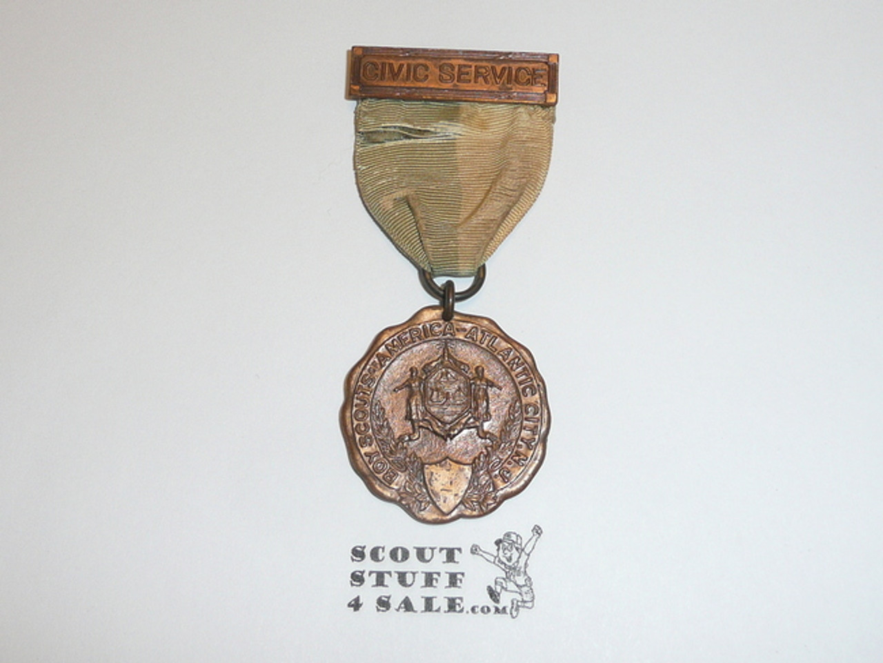 Old Atlantic City Boy Scouts of America Civic Service Medal, Ribbon Faded and Worn