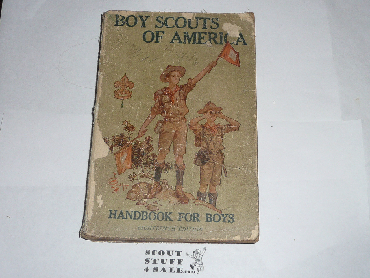 1918 Boy Scout Handbook, Second Edition, Eighteenth Printing, some spine and cover wear