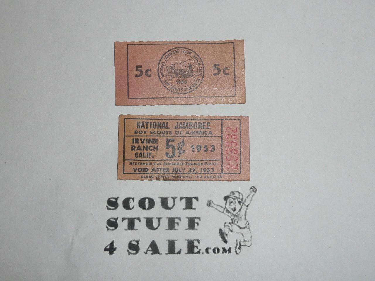 1953 National Jamboree 5 cent Trading Post Ticket