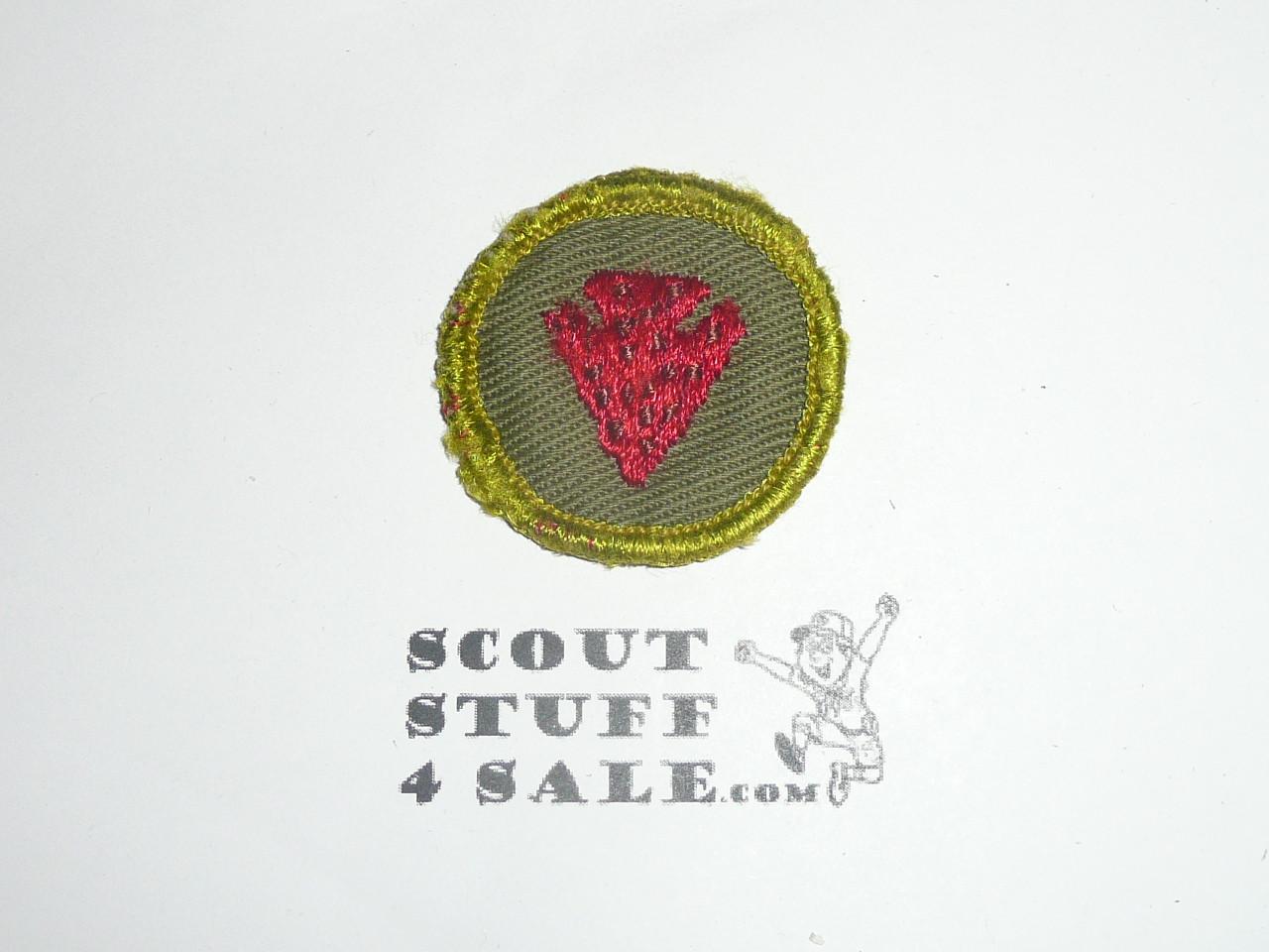 Indian Lore - Type F - Rolled Edge Twill Merit Badge (1961-1968), sewn