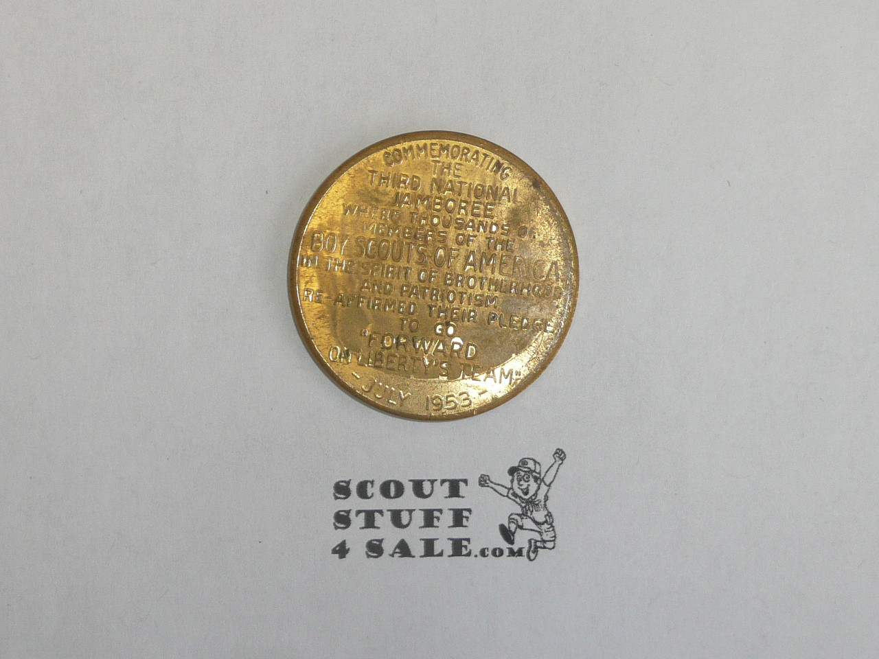 1953 National Jamboree Coin / Token Gold Color, worn