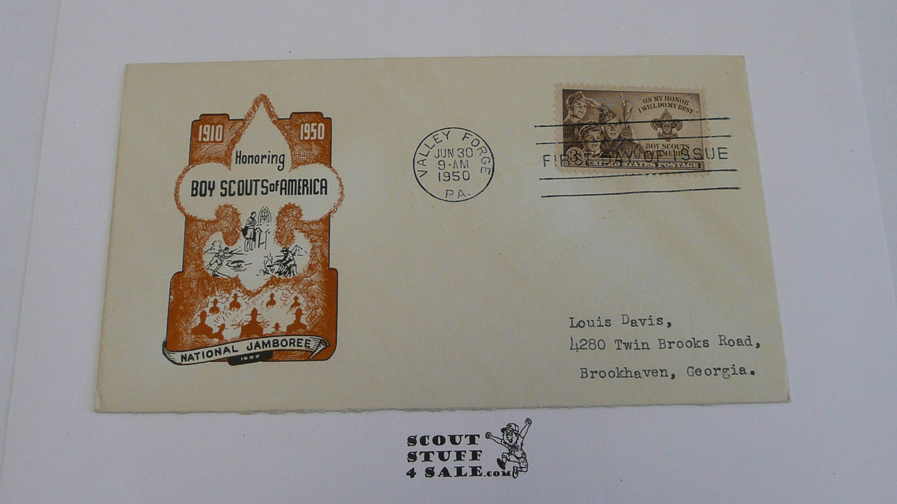1950 National Jamboree Envelope with First day of issue cancellation and BSA 3 cent stamp, Obscure design