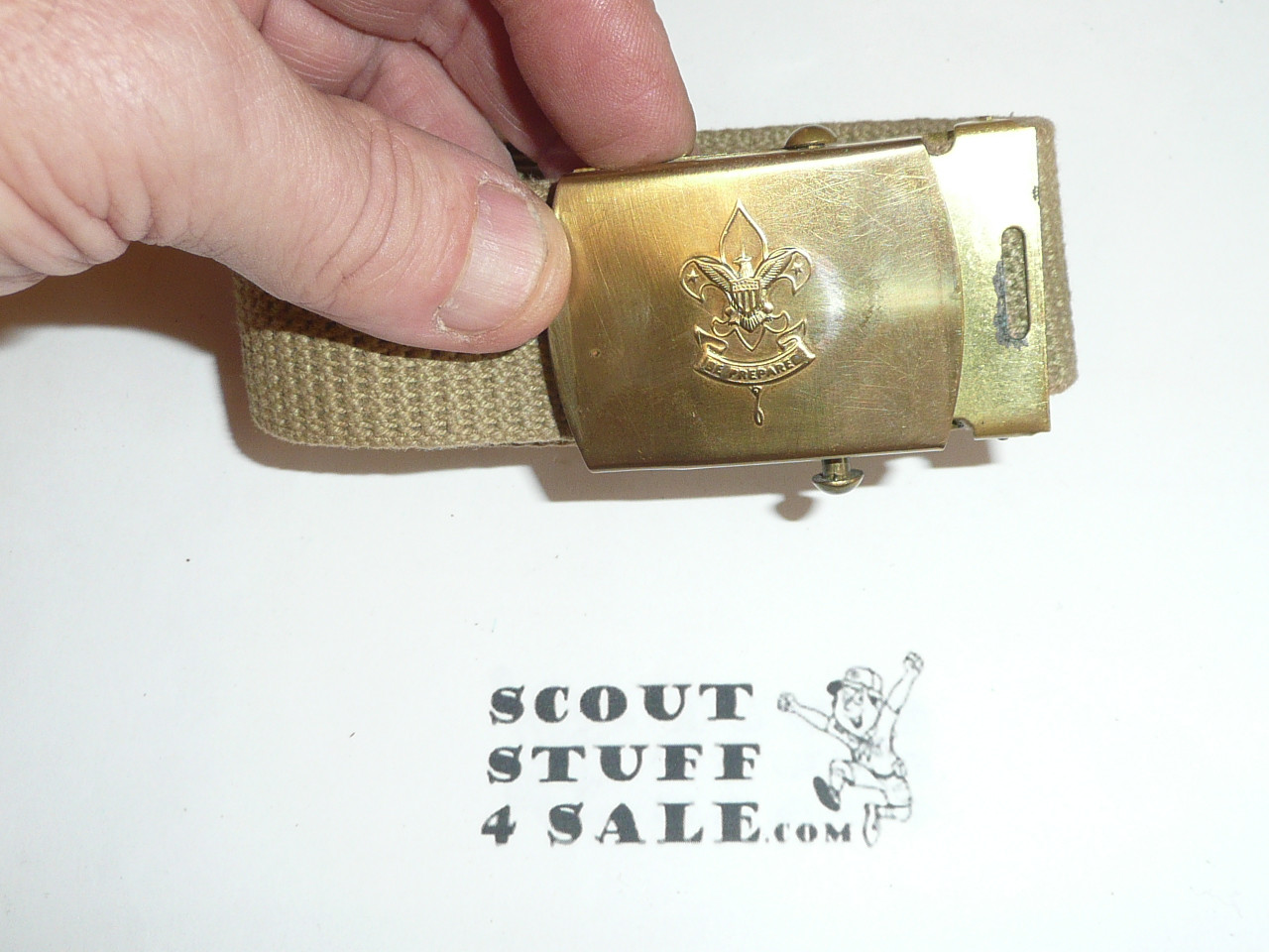 1960's Boy Scout Brass Friction Belt Buckle and webbed belt, unused