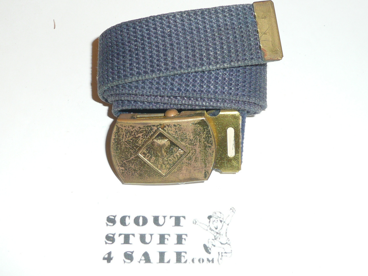 1960's Cub Scout Brass Friction Belt Buckle with webbed belt, used, blue shade of web belt will vary