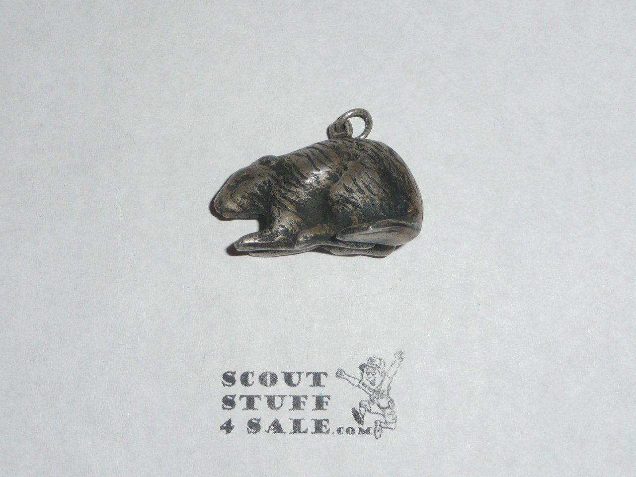 1931 Silver Beaver Award, Type 1, Very RARE, 34mm pendant, This is the medal style, ribbon in poor condition
