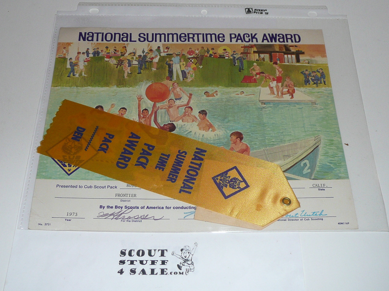 1973 National Summertime Pack Award Certificate with Ribbon, presented