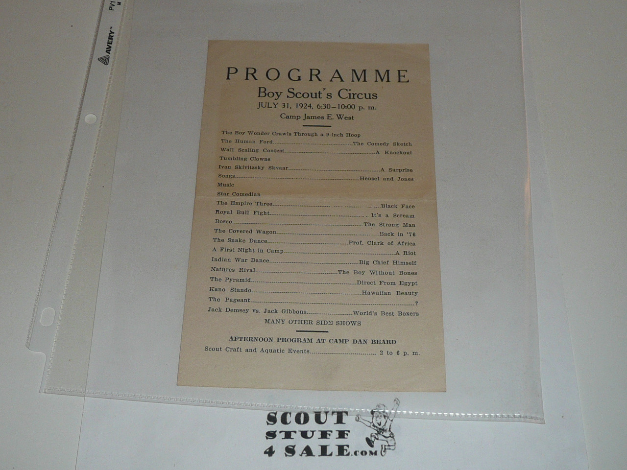 1924 Boy Scout Circus Program at Camp James E. West, Boy Scouts of America