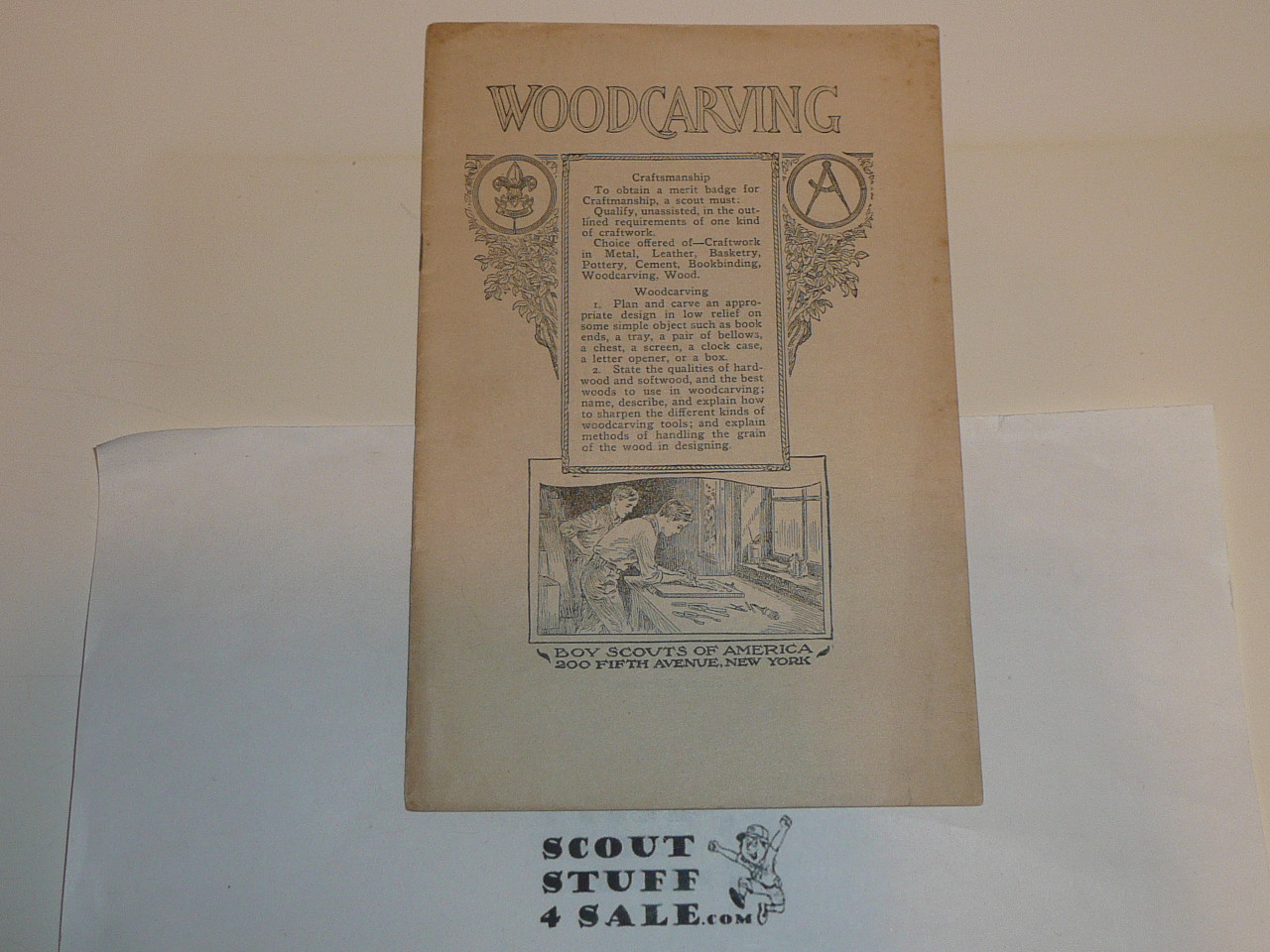 Woodcarving Merit Badge Pamphlet, Type 2, White Cover, 1920 Printing, MINT condition