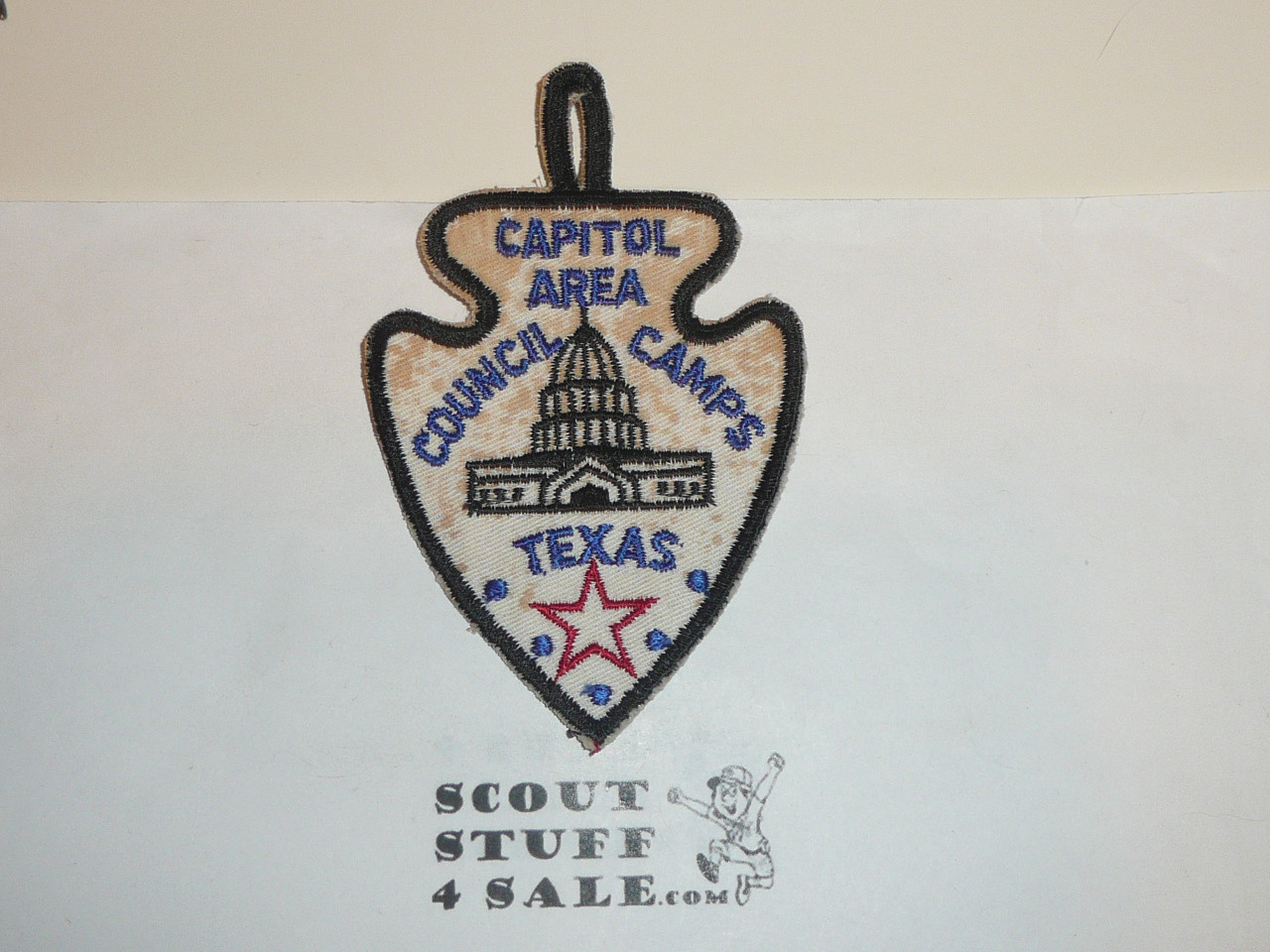 Capitol Area Council Scout Camps c/e Twill Patch, soiled