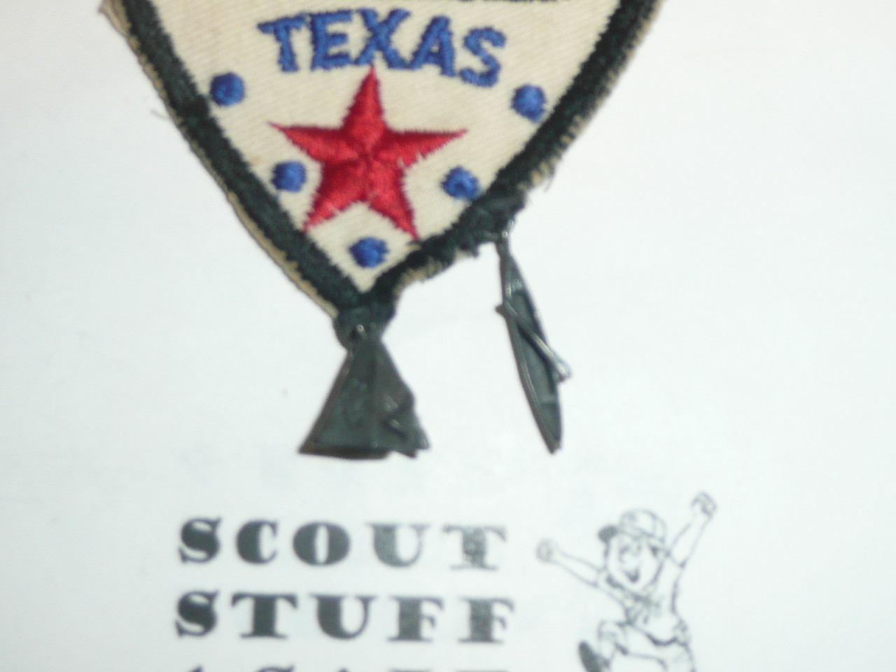 Capitol Area Council Scout Camps c/e Twill Patch, with teepee and canoe hanging off
