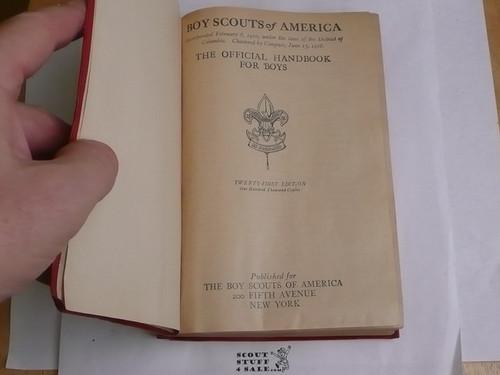 1919 Boy Scout Handbook, Second Edition, Twenty-first Printing, Red Leather binding, very light wear